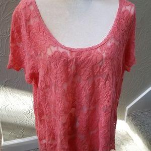 Torrid size 1 peach Lacey short blouse